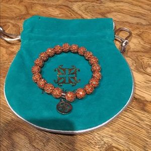 Rustic Cuff orange rhinestone ball bracelet